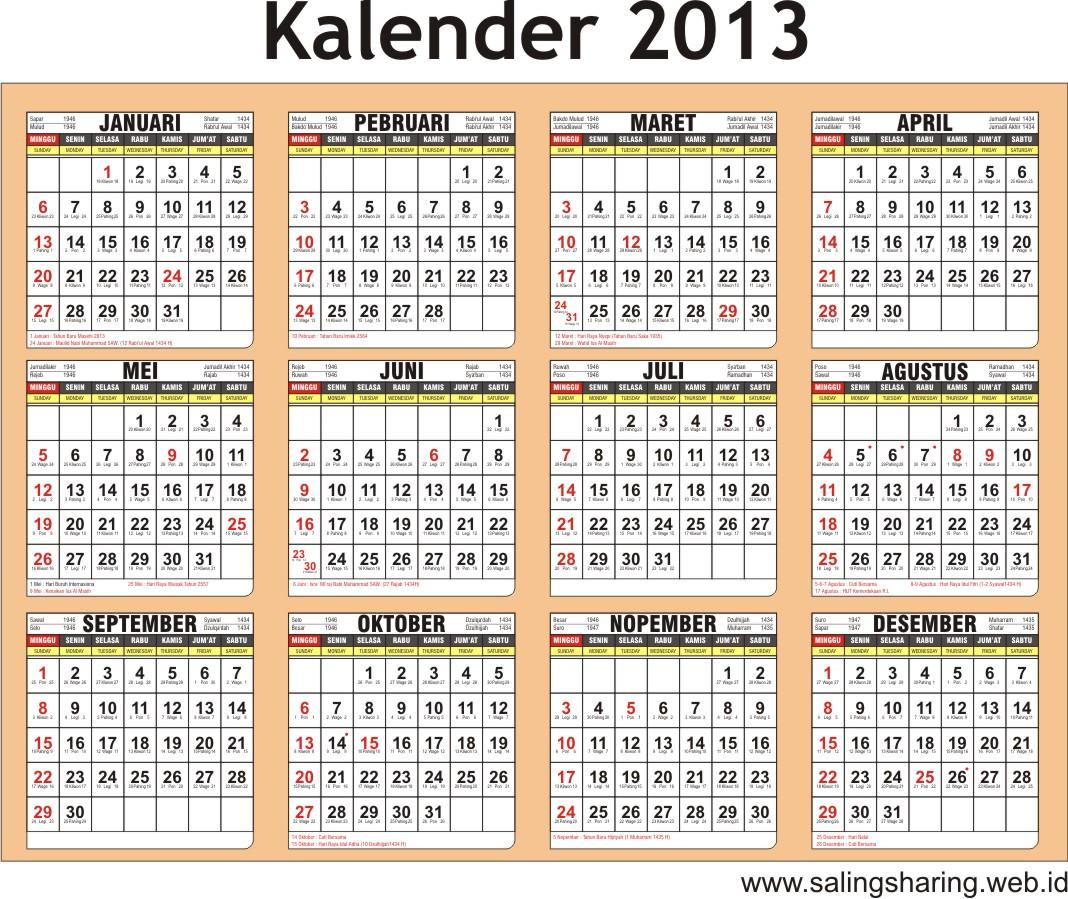 2013 bisa lihat dan dapatkan kalendernya, untuk planing tahun 2013